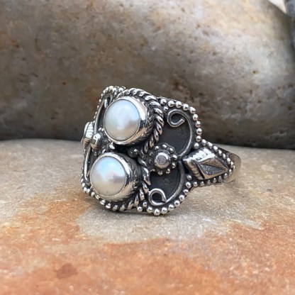 Double Pearl & Sterling Ring