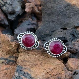 Sterling & Ruby Stud Earrings