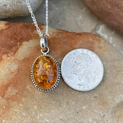 Sterling Oval Amber Pendant