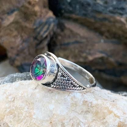 Round Mystic Topaz Ring