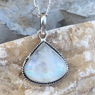 Pear Rainbow Moonstone Pendant