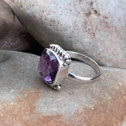 Sterling Beaded Amethyst Ring