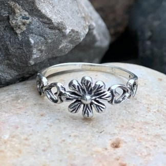 Sterling Flower & Hearts Ring