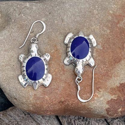 Sterling Lapis Turtle Earrings