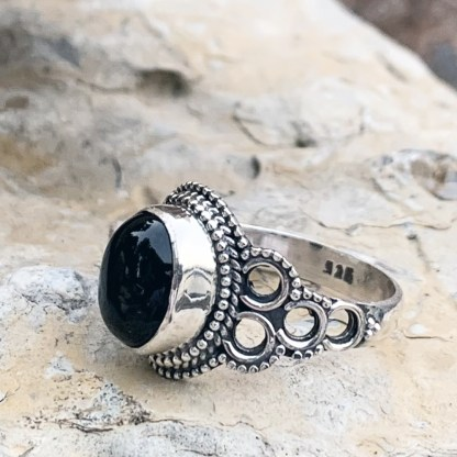 Black Onyx Circle Ring