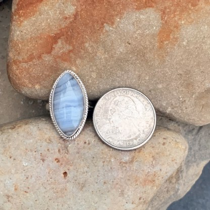 Blue Lace Agate Marquise-Ring