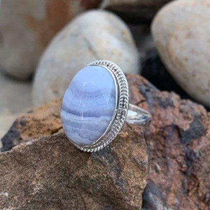 Blue Lace Agate Oval-Ring