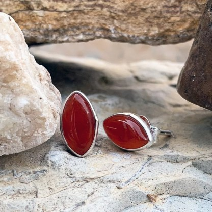 Sterling Carnelian Marquise Studs