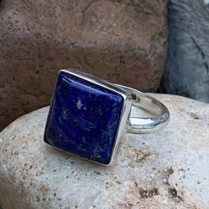 Sterling & Lapis Square Ring