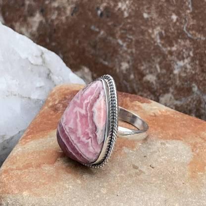 Pear Shape Rhodochrosite Ring