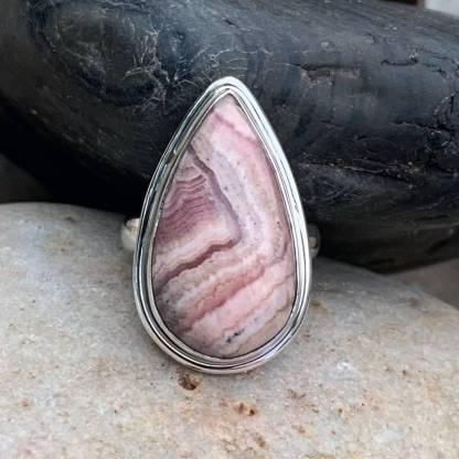 Teardrop Rhodochrosite & Sterling Ring