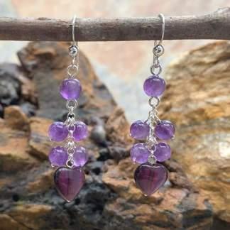 Amethyst Beads & Heart Earrings
