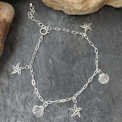 Sterling Seashell & Starfish Bracelet