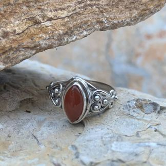 Sterling & Carnelian Marquise Ring