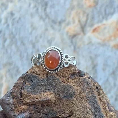 Oval Carnelian & Sterling Ring