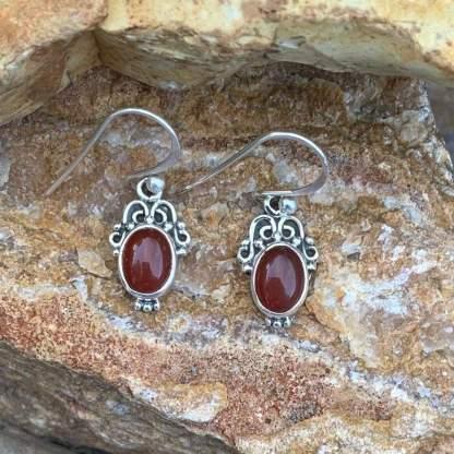Carnelian & Sterling Oval Earrings
