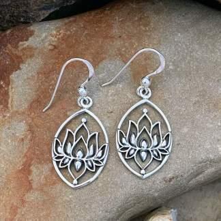 Sterling Full Lotus Earrings