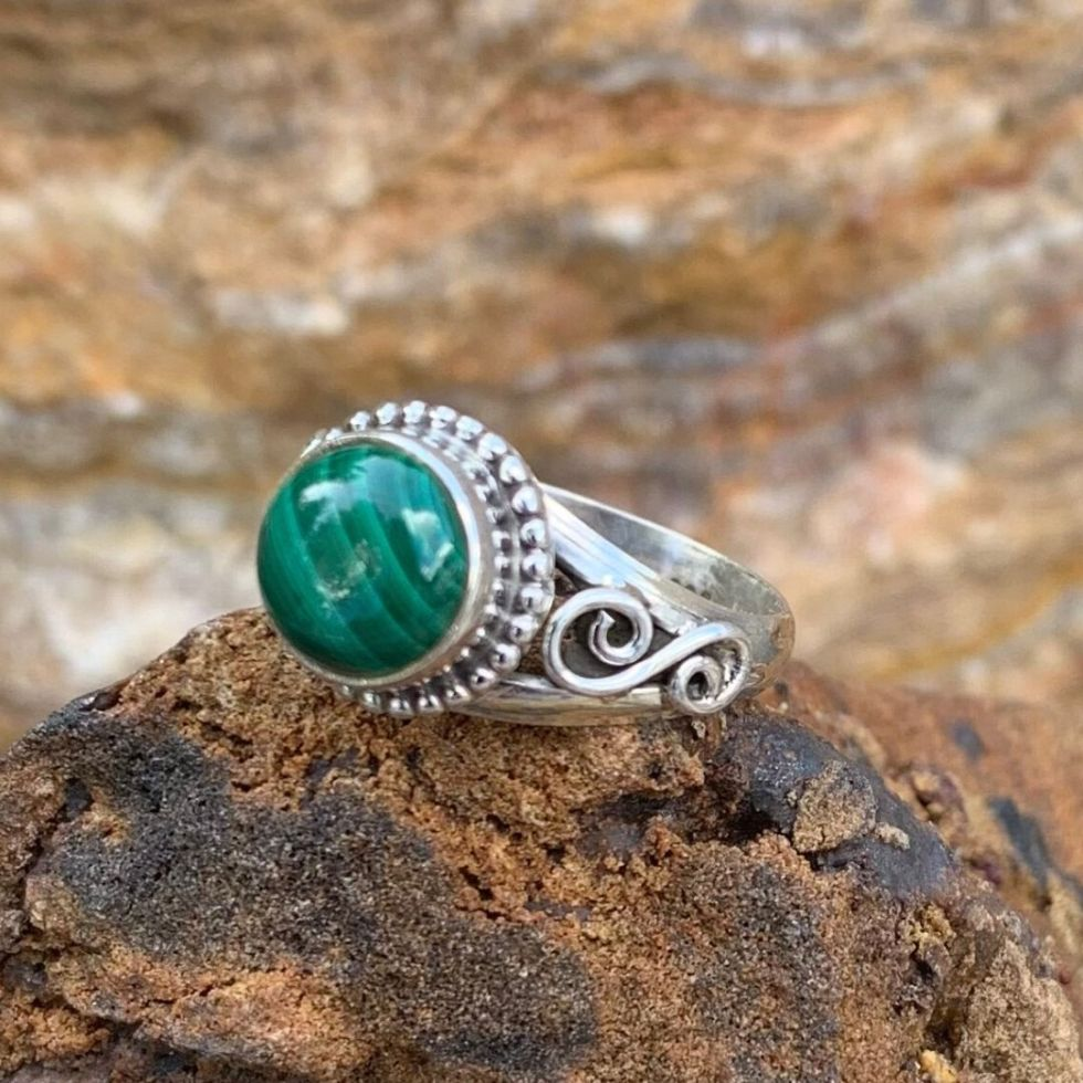 Malachite Side Swirl Ring