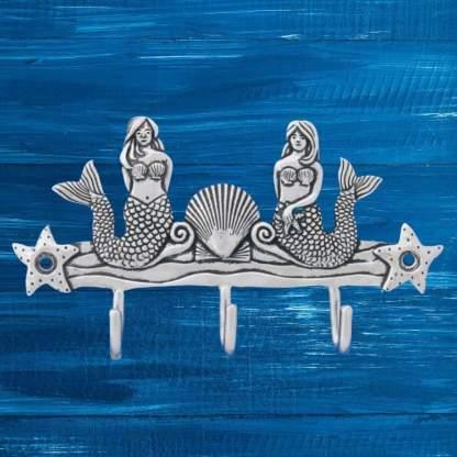 Pewter Mermaid Triple Hook