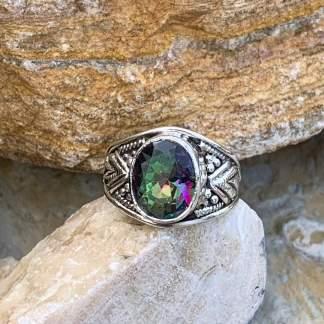Mystic Topaz Chevron Ring