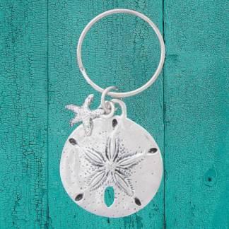 Pewter Sand Dollar Keychain