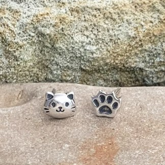 Sterling Cat & Paw Studs