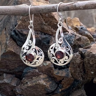Filigree Sterling & Garnet Earrings