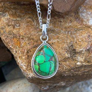Teardrop Green-Copper Turquoise Pendant