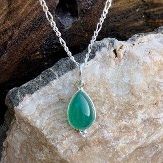 Petite Teardrop Green-Onyx Pendant