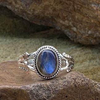 Labradorite & Sterling Oval Ring