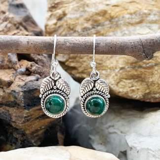 Malachite & Sterling Leaf Earrings