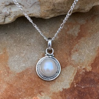 Sterling Round Pearl Pendant