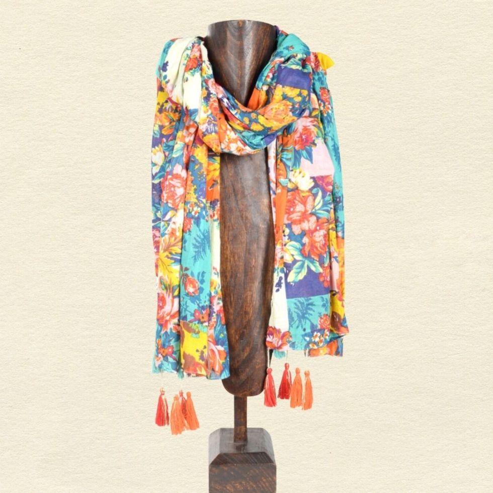 Patchwork Floral Cotton Scarf