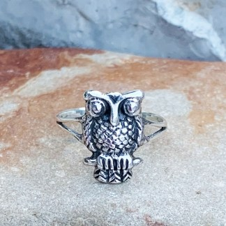 Sterling Wise Owl Ring