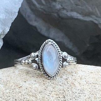 Marquise Rainbow Moonstone Ring