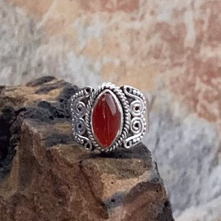 Carnelian & Sterling Marquise Ring