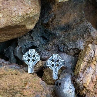 Sterling Celtic Cross Studs