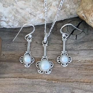 Sterling & Pearl-Flower Jewelry Set