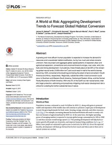 Global Development Risk Assessment for natural habitat conversion