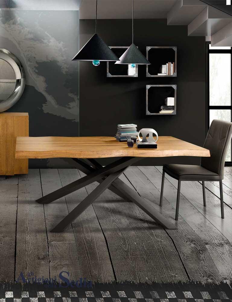 Di interior design metal su pinterest. Tavolo In Legno Massello Da 180 Cm Gambe Incrociate 1647 Gli Artigiani Della Sedia