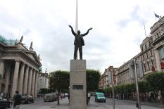 Jim Larkin's Statue with the General Post Office to the left and the Spire behind