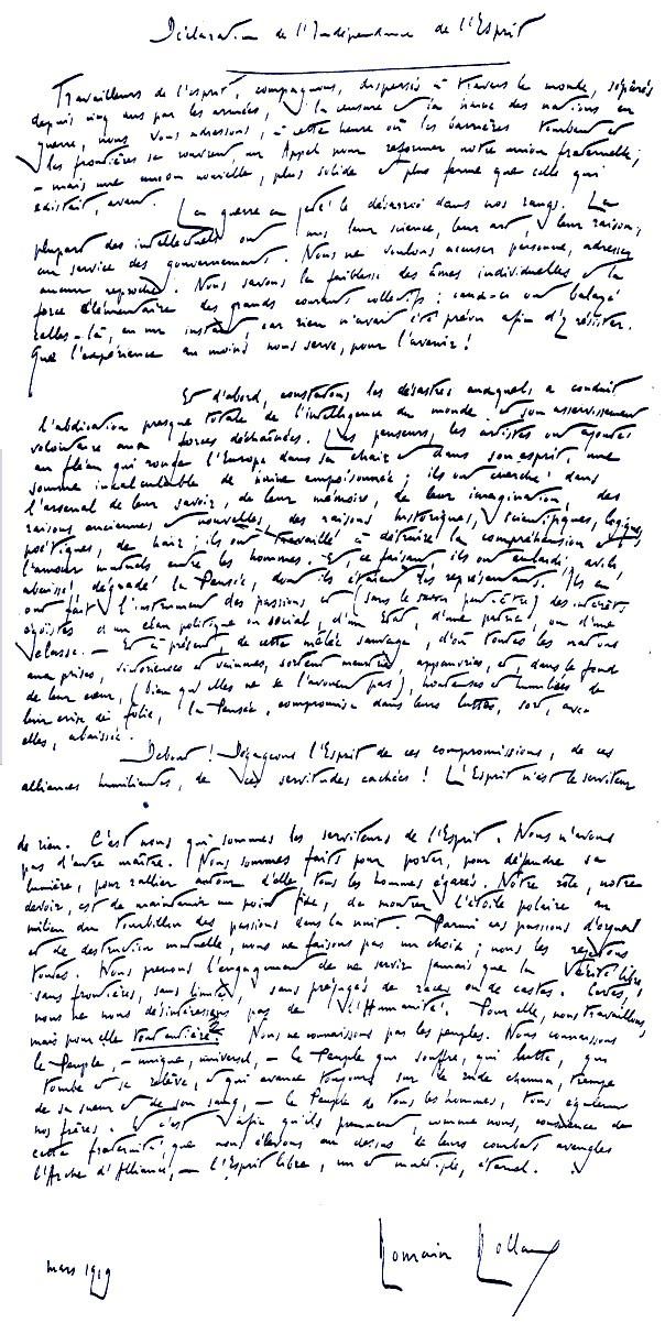 Romen Rolan I Deklaracija O Nezavisnosti Umanesavršen