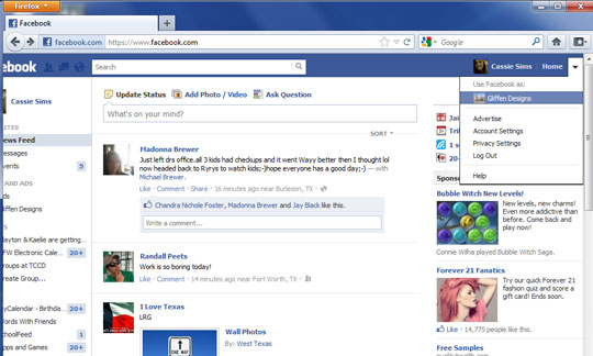 Use Facebook as a Page - Gliffen Designs
