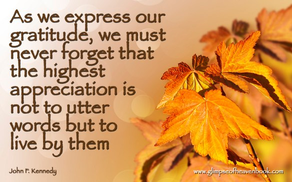 As we express our gratitude, we must never forget that the highest appreciation is not to utter words but to live by them John F. Kennedy