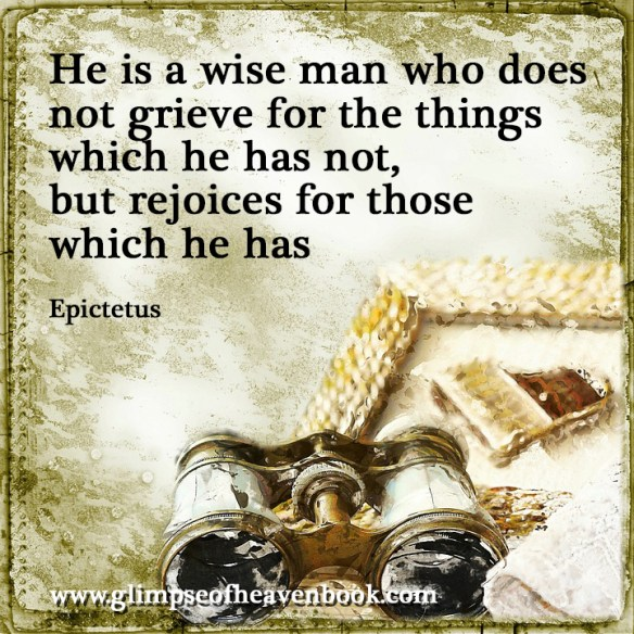 He is a wise man who does not grieve for the things which he has not, but rejoices for those which he has Epictetus