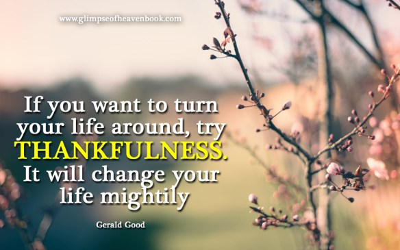 If you want to turn your life around, try THANKFULNESS. It will change your life mightily Gerald Good