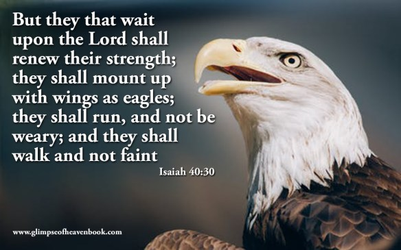 But they that wait upon the Lord shall renew their strength; they shall mount up with wings as eagles; they shall run, and not be weary; and they shall walk and not faint Isaiah 40:30