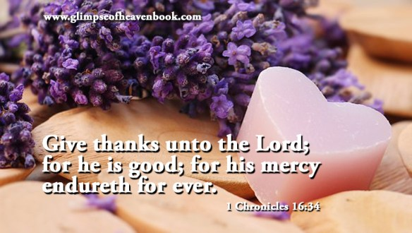Give thanks unto the Lord; for he is good; for his mercy endureth for ever. 1 Chronicles 16:34