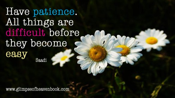 Have patience. All things are difficult before they become easy Saadi