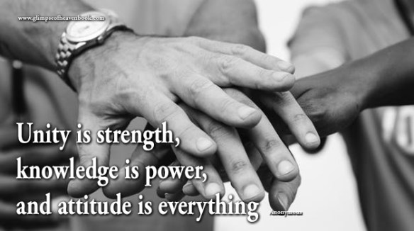 Unity is strength, knowledge is power, and attitude is everything Anonymous